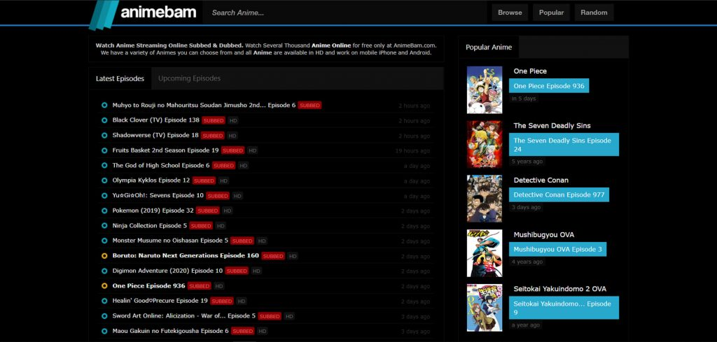 The best site to watch anime online is AnimeBam