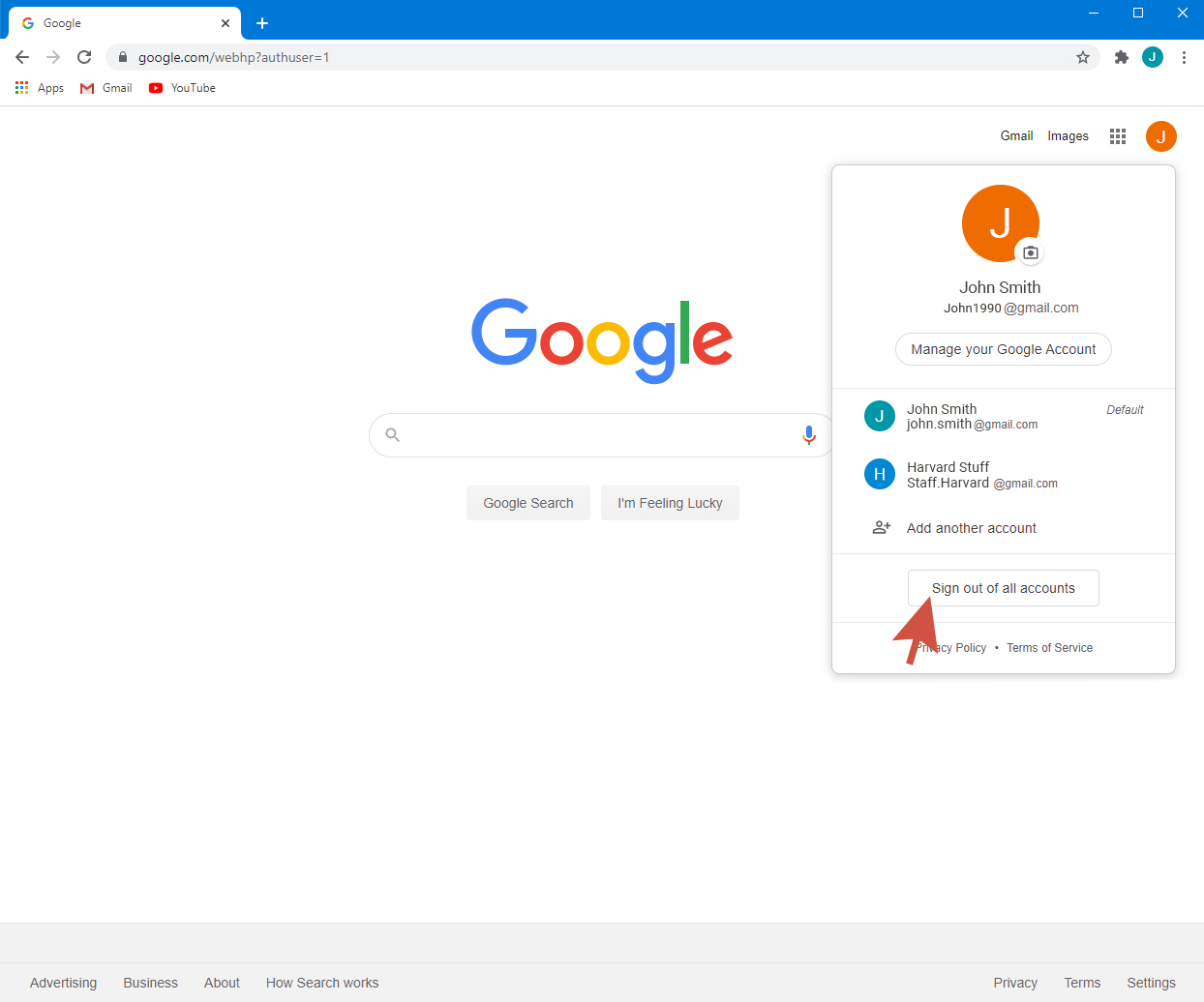 The next step to change default google account is signing out from all accounts